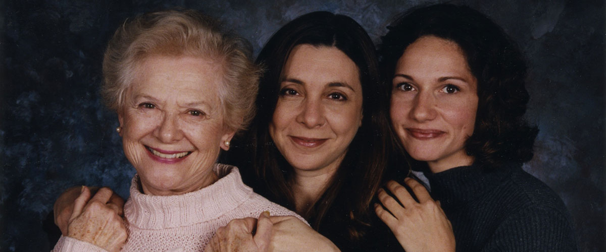 3 women, young adult, middle-aged and elderly