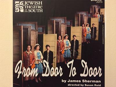 3 door frames with 3 women standing in each foor frame, text reading door to door
